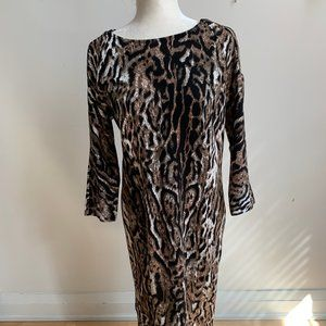 T TAHARI BNWT Animal Print Sheath Dress NEW